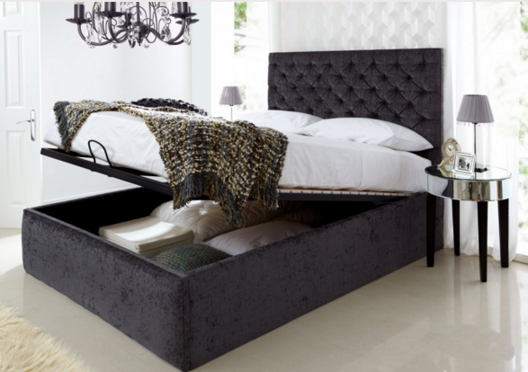 Black Kingsize Ottoman Storage Bed Frame