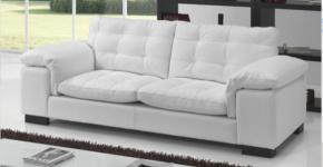 Edgar White Leather Sofa