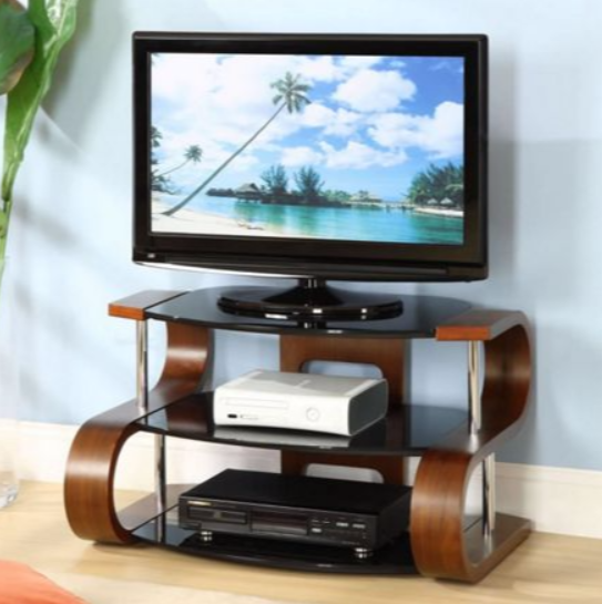 7 glass tv stands for a contemporary living room cute - Walnut effect living room furniture ...