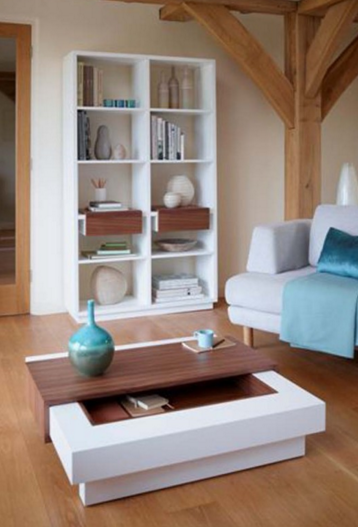 Colour Blend White and Walnut Bookcase