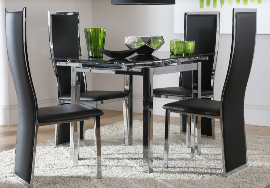 Space-Square-Black-Glass-Dining-Table