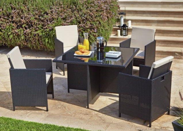 Cube Rattan Effect 4 Seater Patio Set