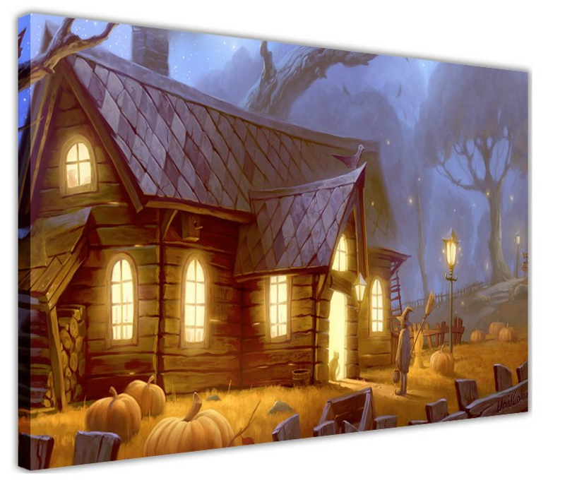 hokku-designs-halloween-decoration-kids-trick-or-treat-at-a-creepy-house-paintin
