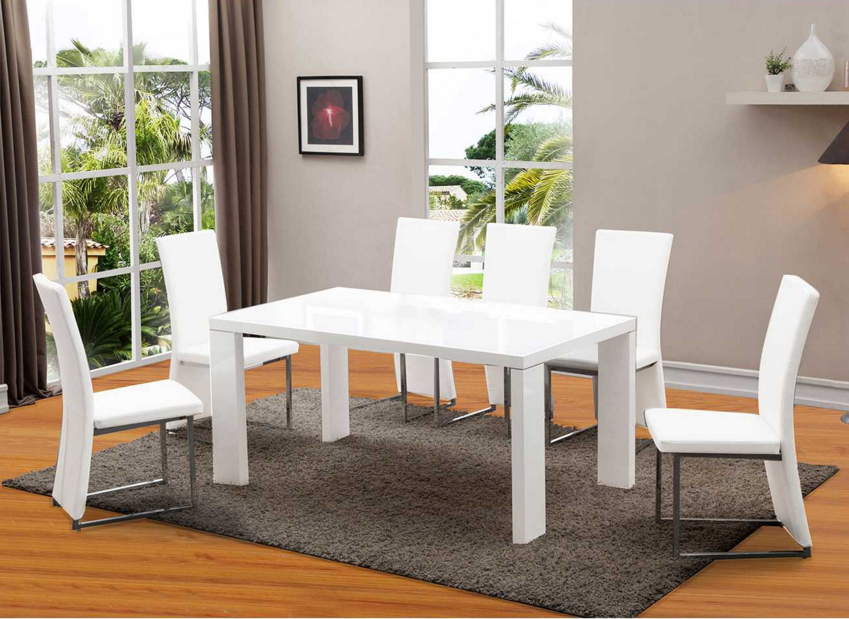 Arctic White Gl Dining Table And Six Chairs